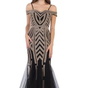 Long evening black and gold gown